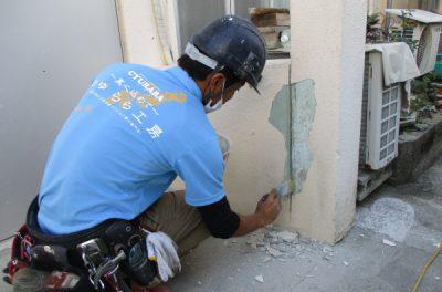 プロの職人根性☆外壁補修、外壁塗装工事中です。(●^o^●)