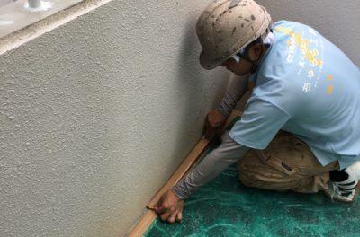 外壁塗装リフォーム工事  ビニール養生中です。