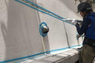 アパート外壁の防水工事です。(沖縄県西原町にて)