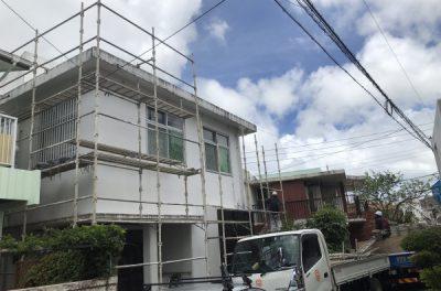 外壁塗装・屋根防水リフォーム(足場組立スタートです)那覇市首里にて