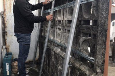ブロック壁の補強工事(那覇市首里にて)