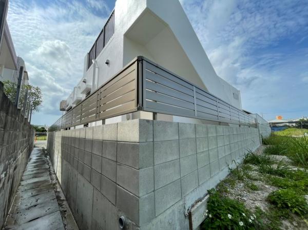 外構工事 ブロック積み・フェンス取付工事・土間打ち(西原町)
