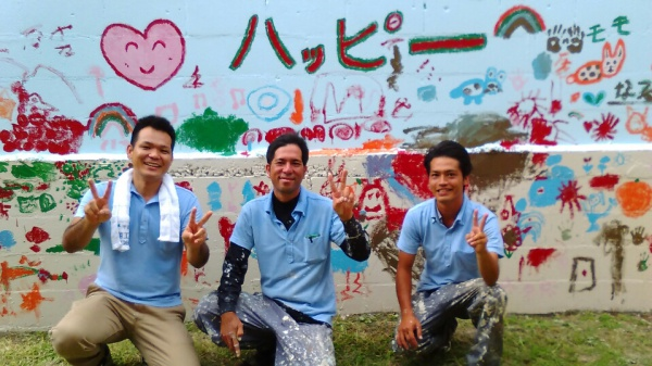 沖縄県西原幼稚園ブロック壁ちゅらら活動