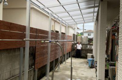 アルミテラス、目隠し木フェンス、門扉取付工事