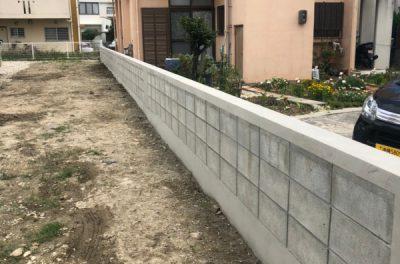 ブロック解体・ブロックの積み直し工事(西原)